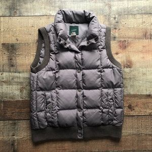 J crew vest size x-small down blend taupe